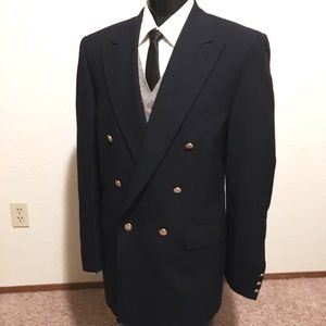 Burberry Double Breasted Wool Blazer Navy 41L